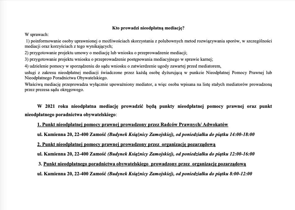zrzut ekranu 2021 01 5 o 100259 ZAMOŚĆ: Porady prawne tylko z wykorzystaniem środków porozumiewania się na odległość