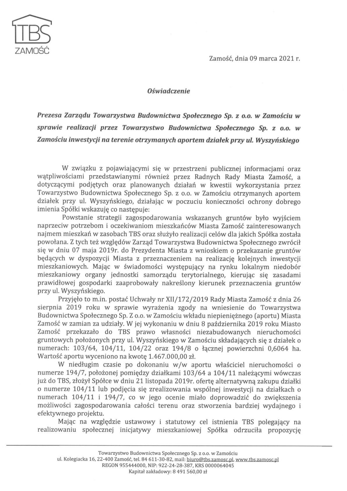 oawiadczenie tbs TBS o inwestycji na Wyszyńskiego. Publikujemy OŚWIADCZENIE Spółki