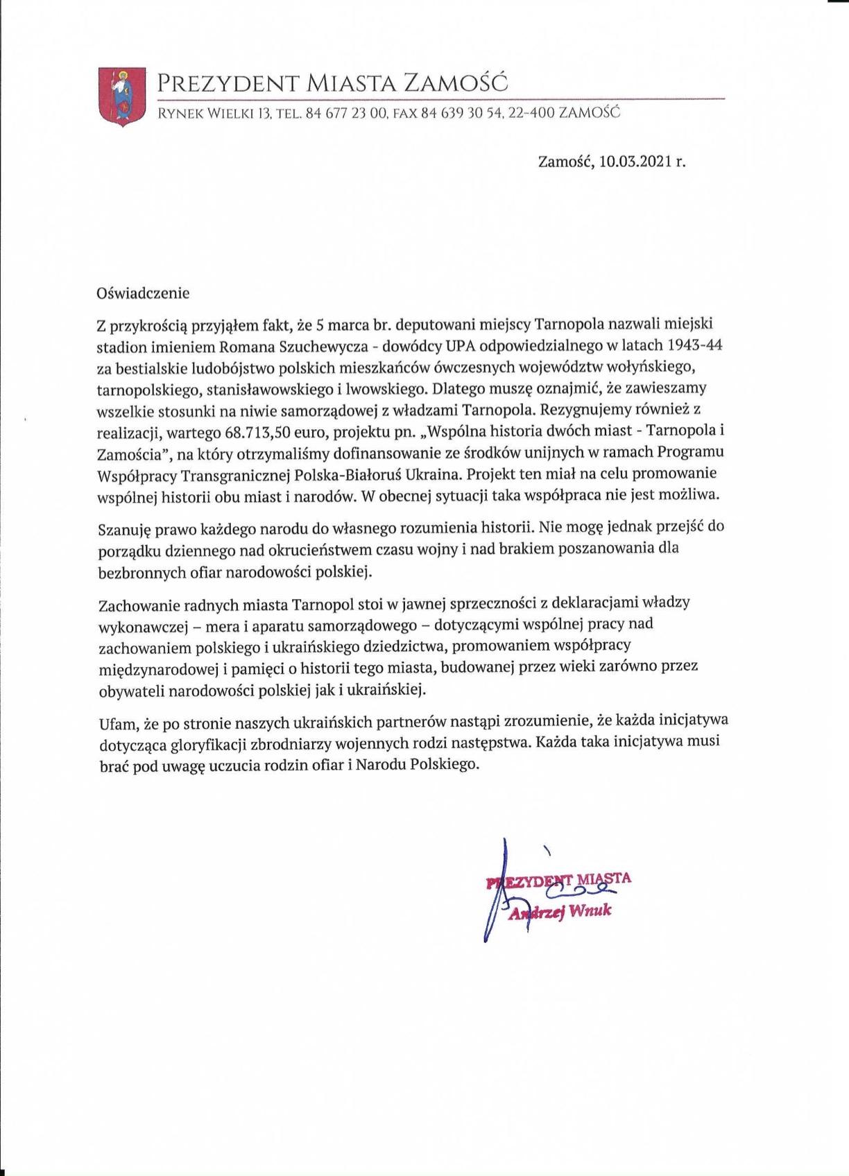 osiwiadczenie tarnopol 2021 Zamość zawiesza współpracę z Tarnopolem. Powodem uhonorowanie dowódcy UPA przez ukraińskie miasto