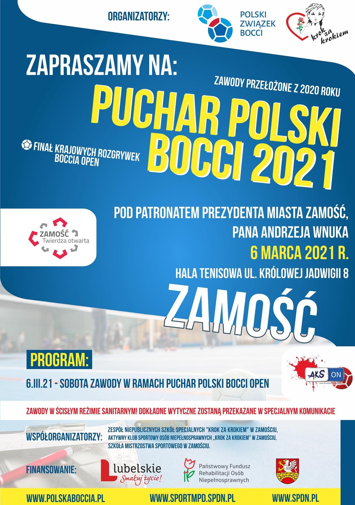 plakat boccia 2021 ZAMOŚĆ: Puchar Polski BOCCIA 2021 już w tę sobotę!