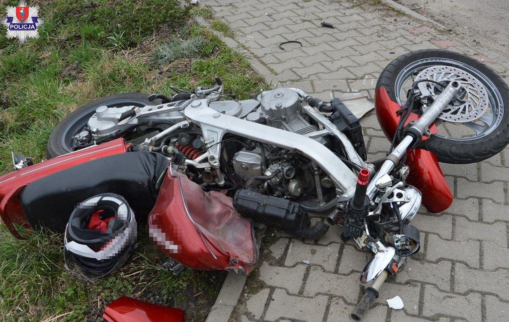 361 183697 Wypadek motocyklisty. 32-latek jechał za szybko