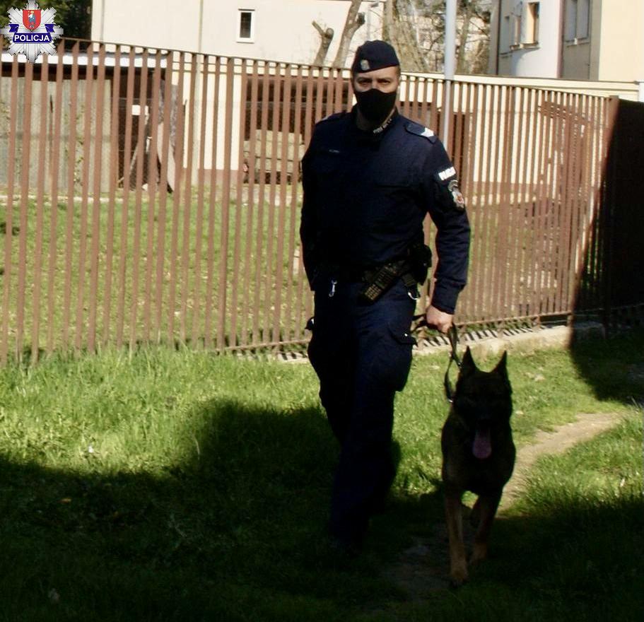 361 184066 Policyjny pies doprowadził do włamywacza