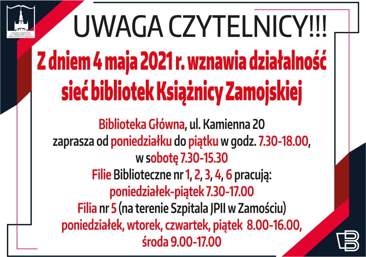 biblioteka otwarcie 4maja Po długiej przerwie Książnica Zamojska ponownie otwarta