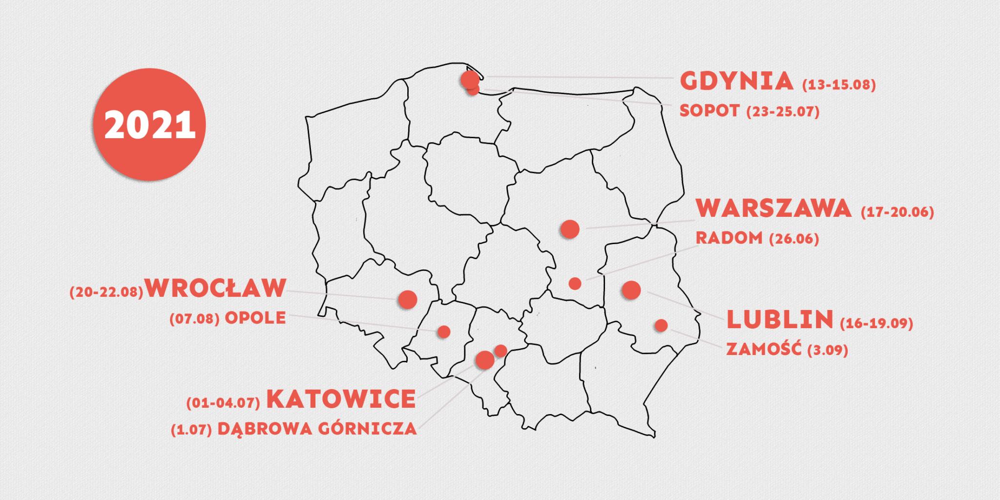 festiwal mapa daty2021 2048x1024 1 Festiwal Ojce i Dziatki zawita do Zamościa.