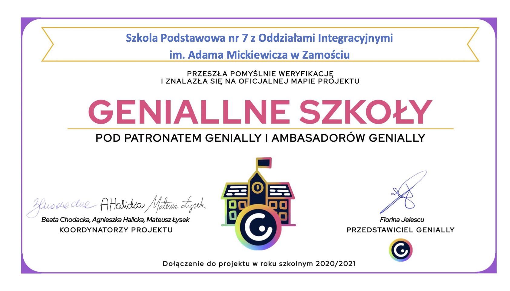 szkola podstawowa nr 7 z oddzialami integracyjnymi im adama mickiewicza w zamosciu Zamojska