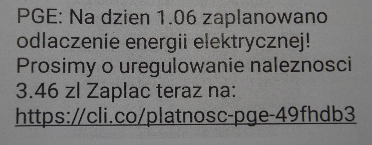 68 185485 Oszukana na niedopłatę do prądu