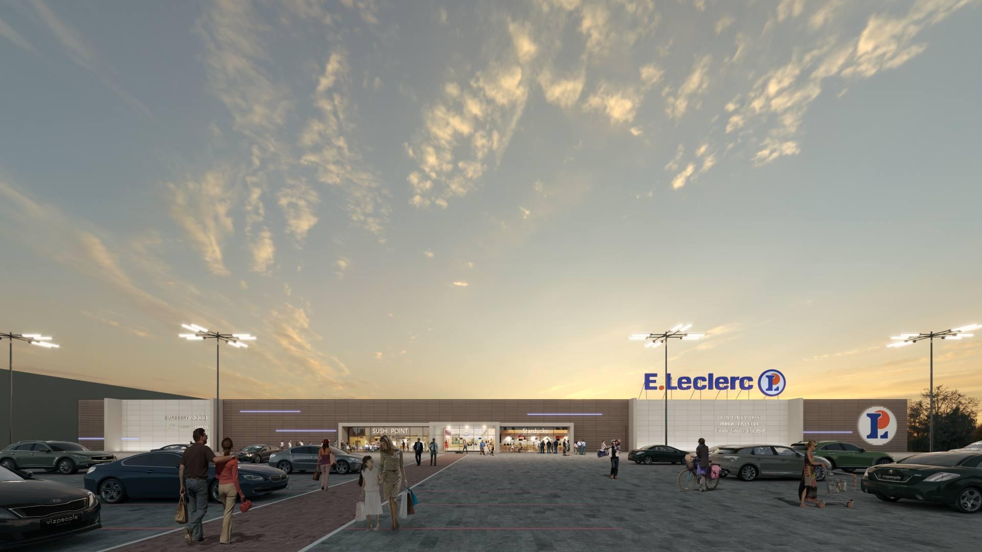 elewacja koncepcja modernizacji widok 2 E.Leclerc rozbuduje centrum handlowe w Zamościu