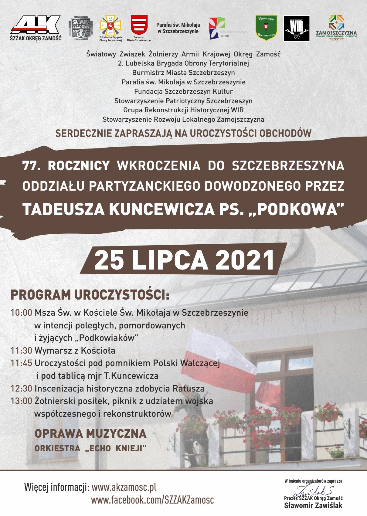 """podkowa 2021 3c www Obchody 77. rocznicy wkroczenia do Szczebrzeszyna Oddziału AK dowodzonego przez Tadeusza Kuncewicza ps. """"Podkowa"""""""