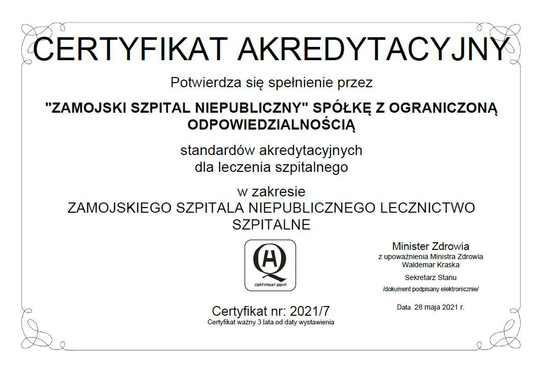 akredytacja2021 1 ZAMOŚĆ: Oddział hematologiczny w krajowej czołówce.