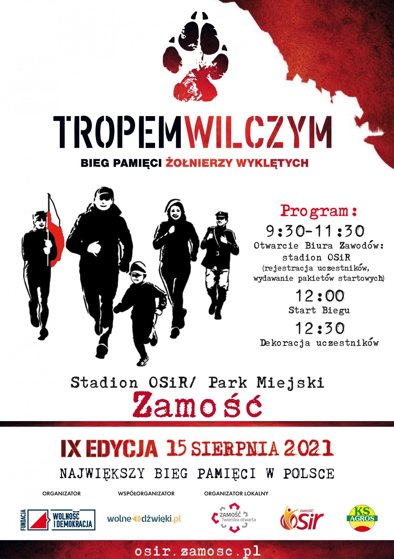 """plakat tropem wilczym 2021 ZAMOŚĆ: Ruszyły zapisy na Bieg """"Tropem Wilczym"""" ku czci Żołnierzy Wyklętych."""