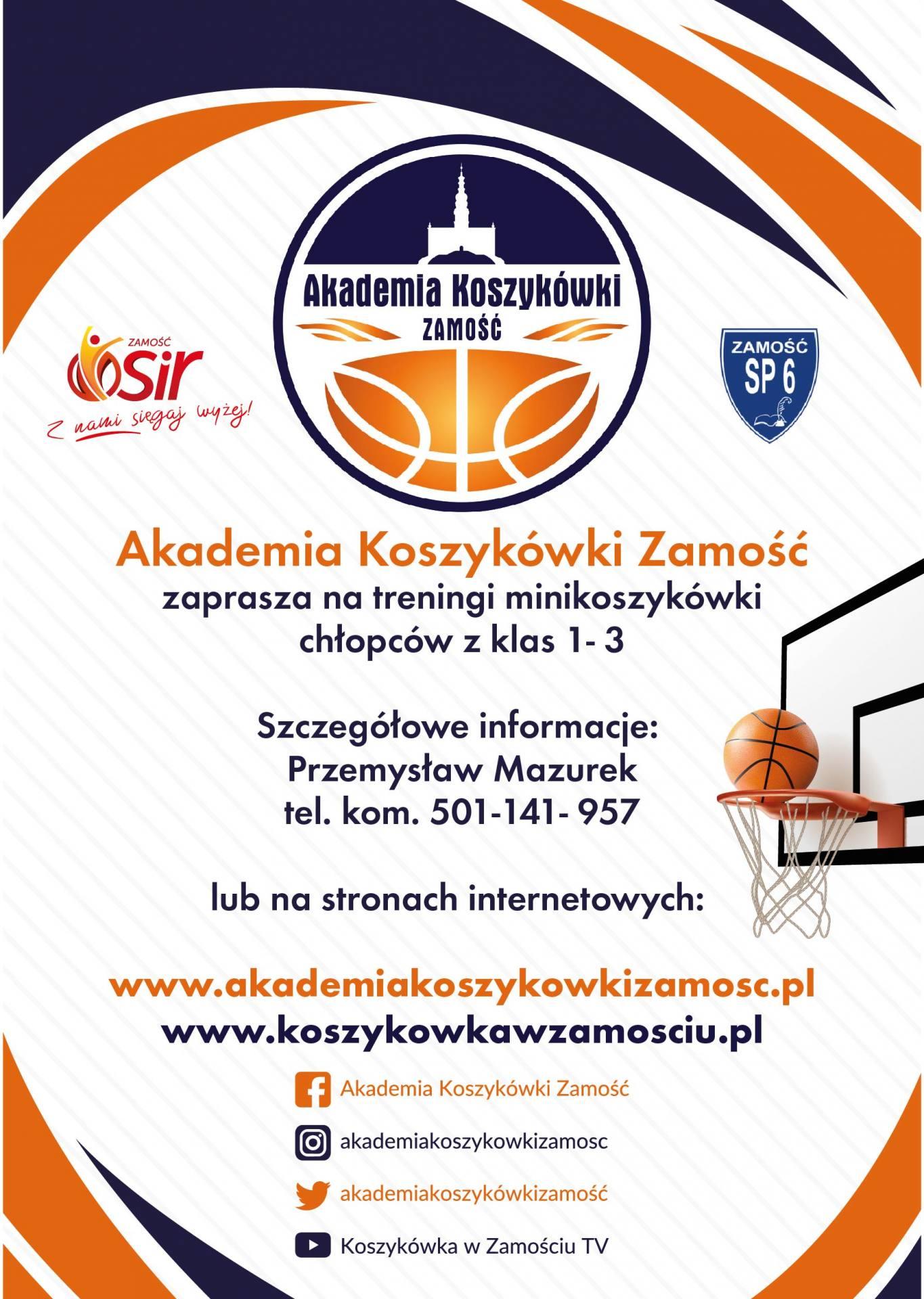akz nabor klasy 1 3 Akademia Koszykówki Zamość zaprasza na treningi