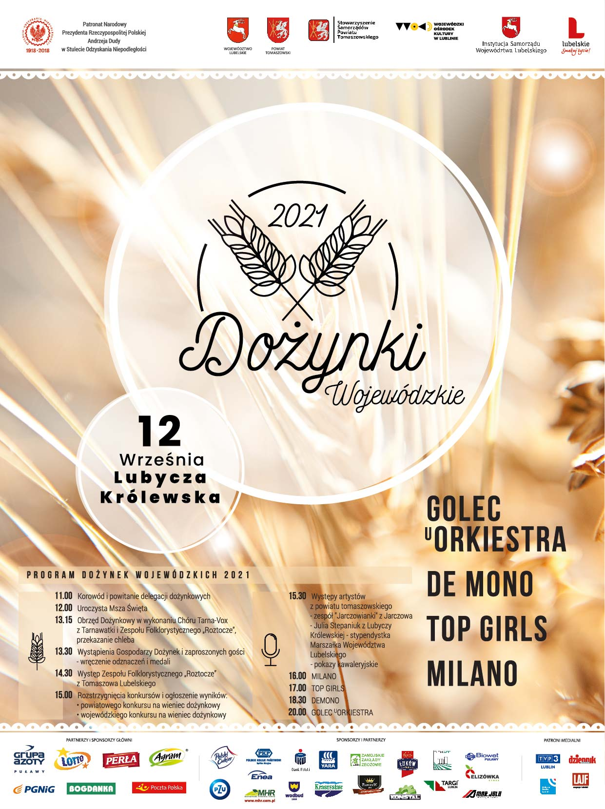 plakat dozynkowy 2021 Golec uOrkiestra gwiazdą Dożynek Wojewódzkich w Lubyczy Królewskiej