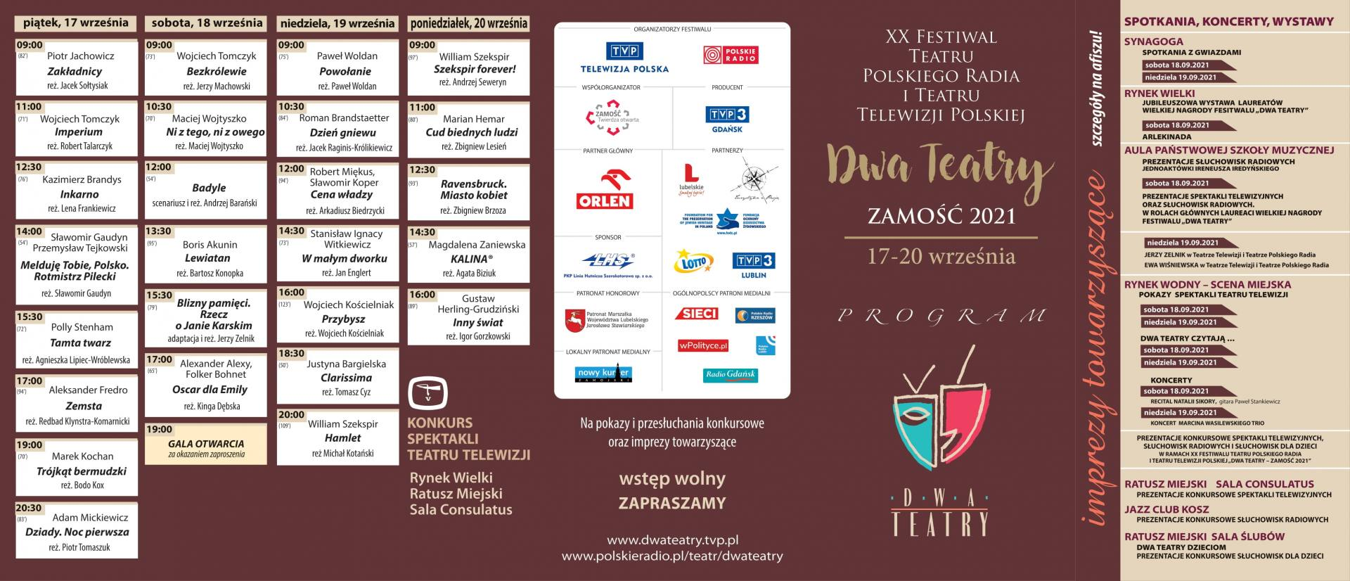 program 2t spektakle plus sluchowiska 1 Festiwal Dwa Teatry zagości w Zamościu. Co w programie wydarzenia?