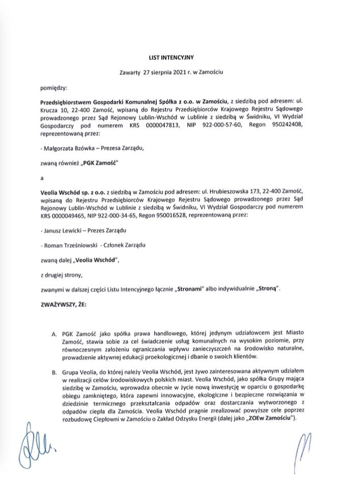 zrzut ekranu 2021 09 7 o 125122 PGK oraz Veolia Wschód podpisały list intencyjny ws. rozbudowy ciepłowni w Zamościu