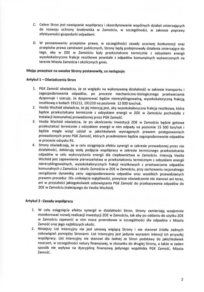 zrzut ekranu 2021 09 7 o 125137 PGK oraz Veolia Wschód podpisały list intencyjny ws. rozbudowy ciepłowni w Zamościu