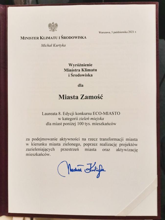 12889b Miasto Zamość laureatem konkursu ECO-MIASTO