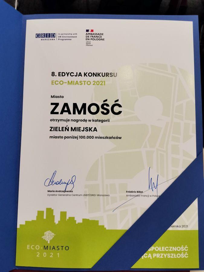 12890b Miasto Zamość laureatem konkursu ECO-MIASTO