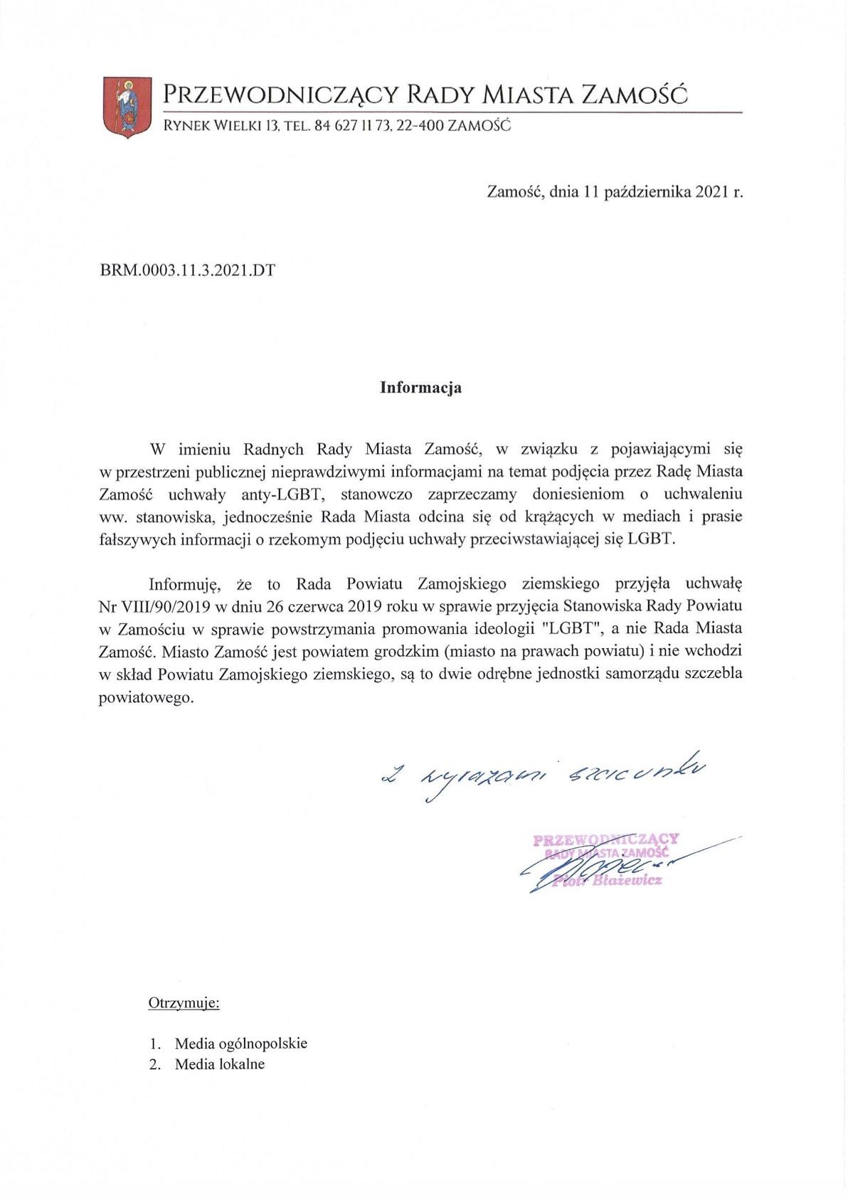 informacja Rada Miasta Zamość stanowczo: