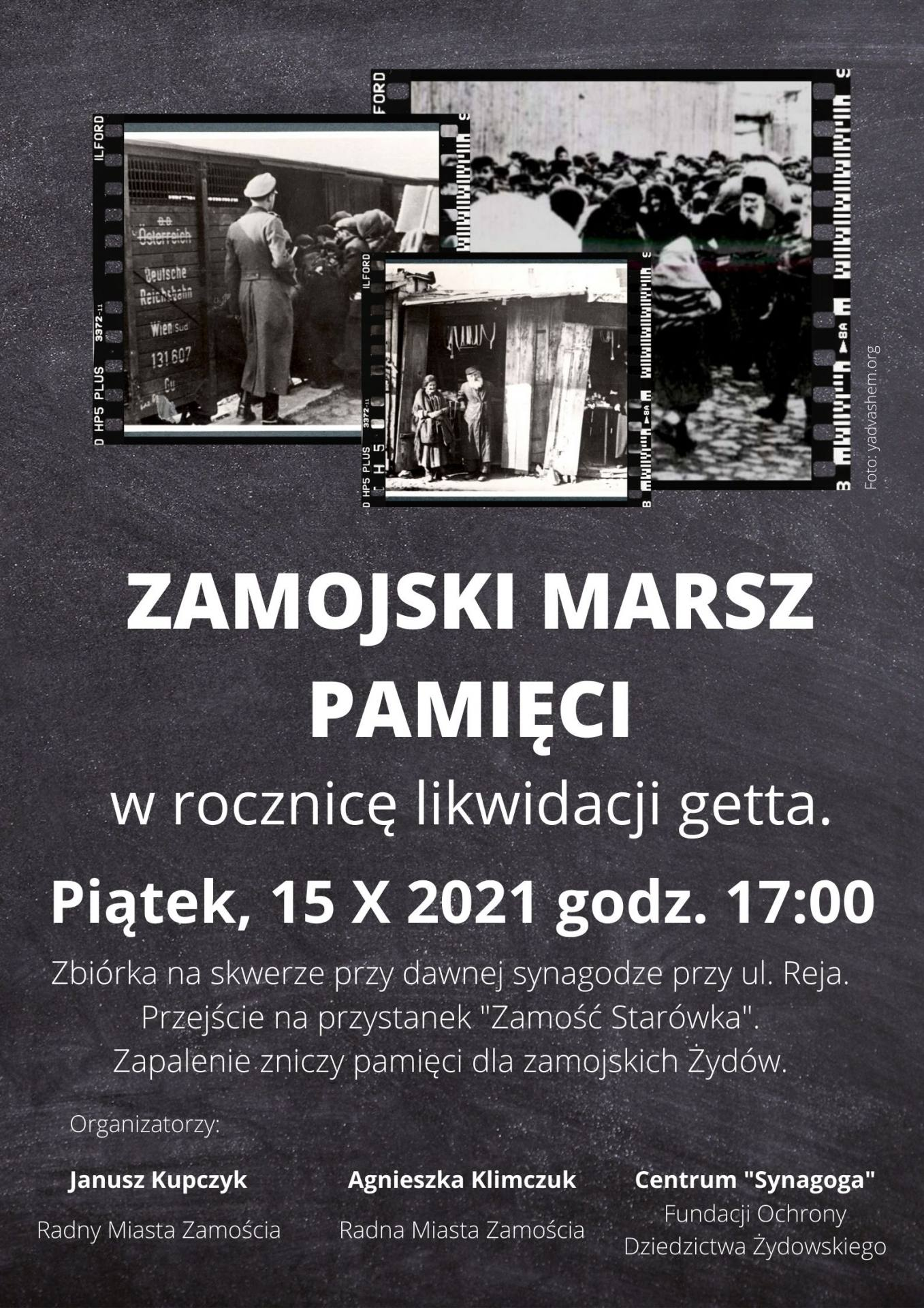 plakat 2021 Zamojski Marsz Pamięci w rocznicę likwidacji getta