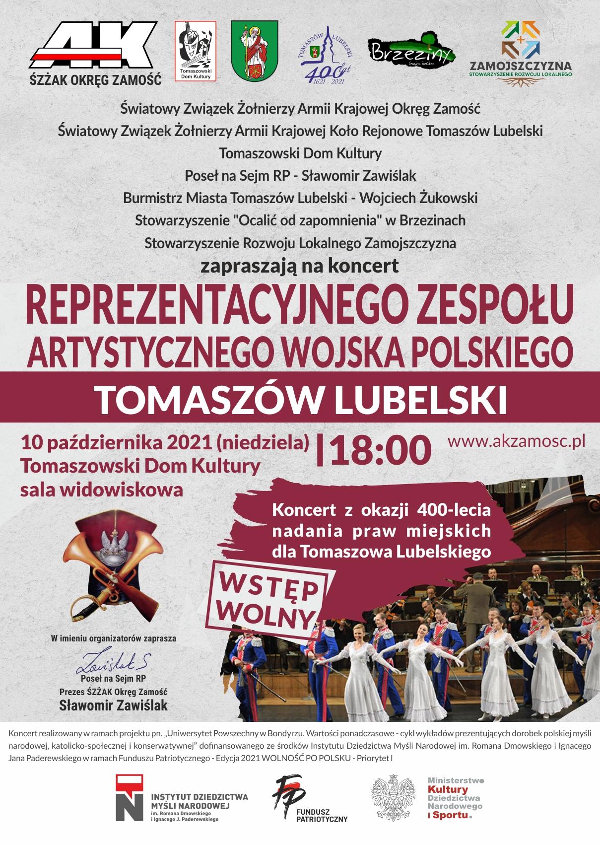 rzawp 10 10 2021 5 Koncert Reprezentacyjnego Zespołu Artystycznego Wojska Polskiego z okazji 400-lecia Tomaszowa Lubelskiego