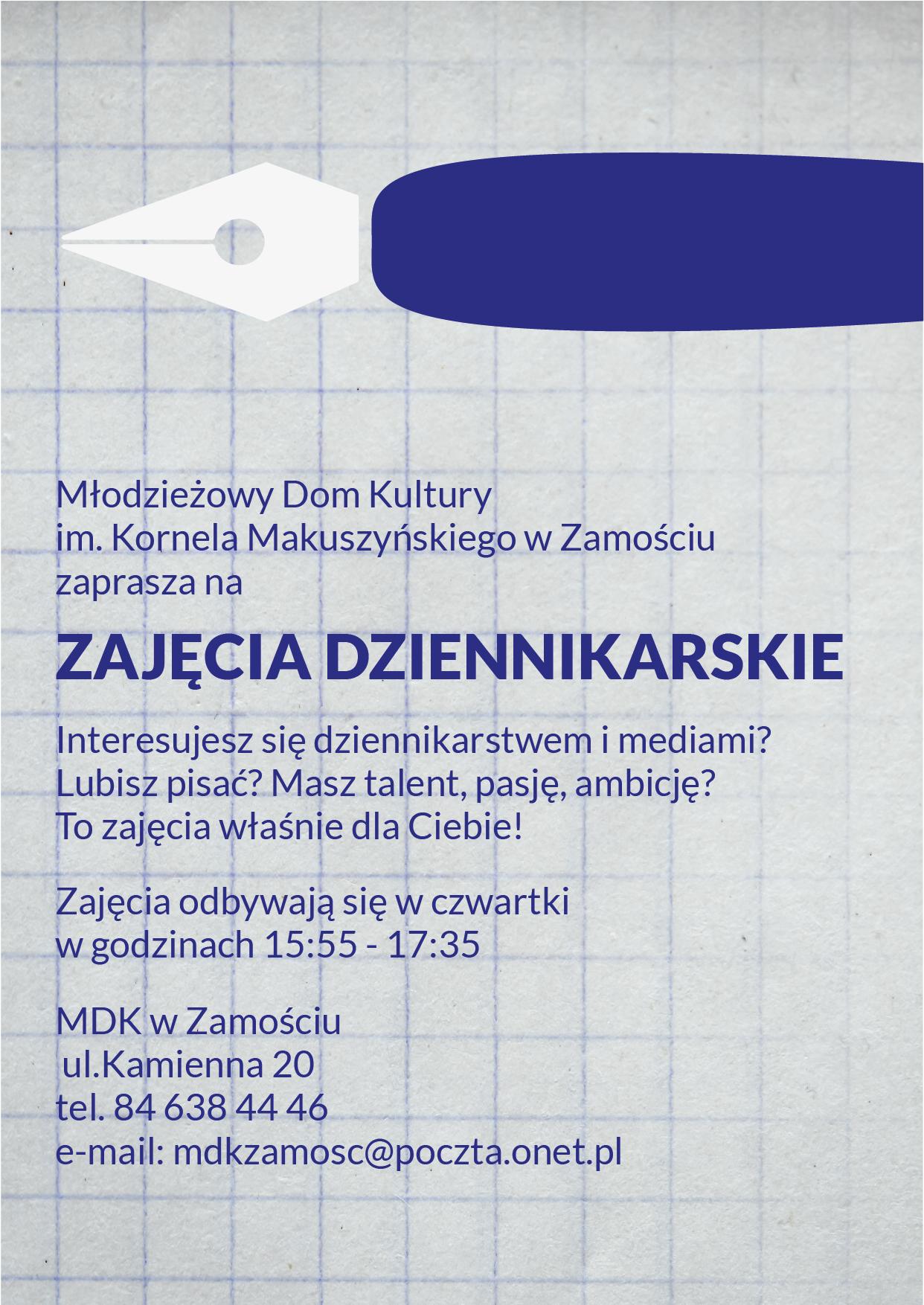 zajecia dziennikarskie Nowe zajęcia dla dzieci i młodzieży w MDK Zamość